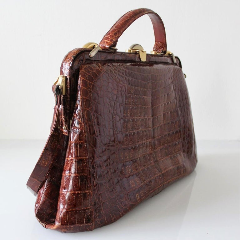 Brown Vintage Crocodile Handbag For Sale