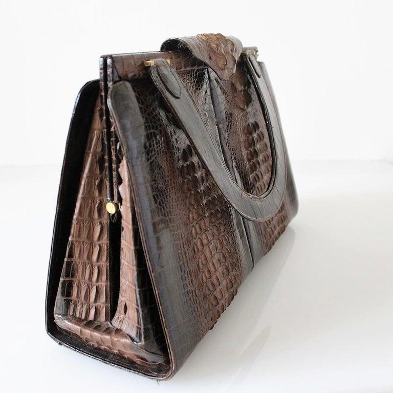 Black Vintage Crocodile Handbag For Sale