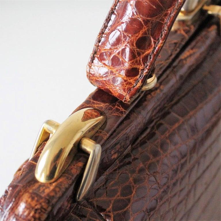 Vintage Crocodile Handbag For Sale 2