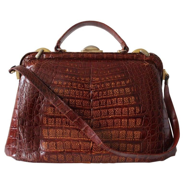 Vintage Crocodile Handbag For Sale