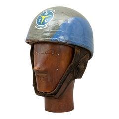Vintage Cromwell Motorcycle Helmet, Grey and Blue