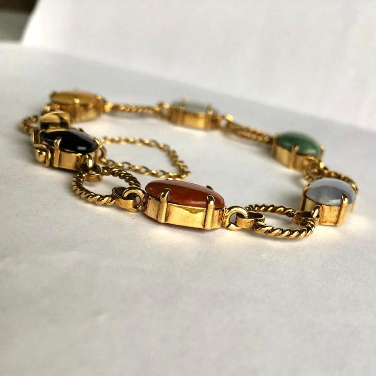 Modern Vintage Cropp & Farr Multi Stone and 9 Carat Gold Bracelet