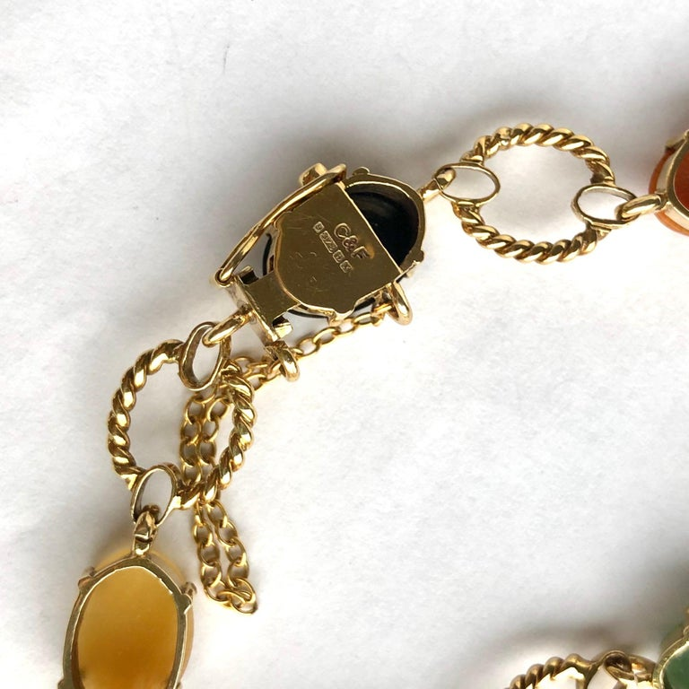 Vintage Cropp & Farr Multi Stone and 9 Carat Gold Bracelet In Good Condition In Chipping Campden, GB
