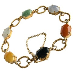 Vintage Cropp & Farr Multi Stone and 9 Carat Gold Bracelet