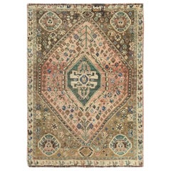 Vintage Cropped Thin Persian Shiraz Hand Knotted Clean Oriental Rug