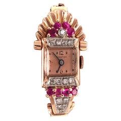 Vintage Croton Ladies 14 Karat Gold Wristwatch 9 Total Diamonds