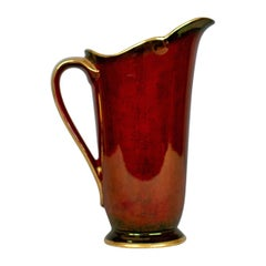 Vintage, Crown Devon Ewer, Decorative Jug, 3322, Rouge, Gold, Pearlescent
