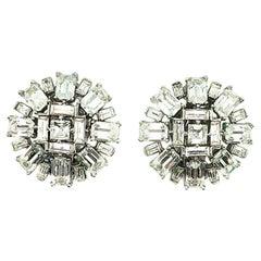 Vintage Crown Trifari Art Deco Silver & Crystal Cocktail Earrings 1950s