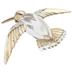 Vintage Crown Trifari Jelly Belly Hummingbird Sterling Silver & Lucite Brooch