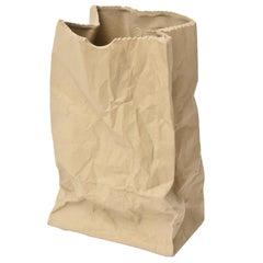 Vintage Crushed Brown Paper Bag Ceramic Sculpture or Vase