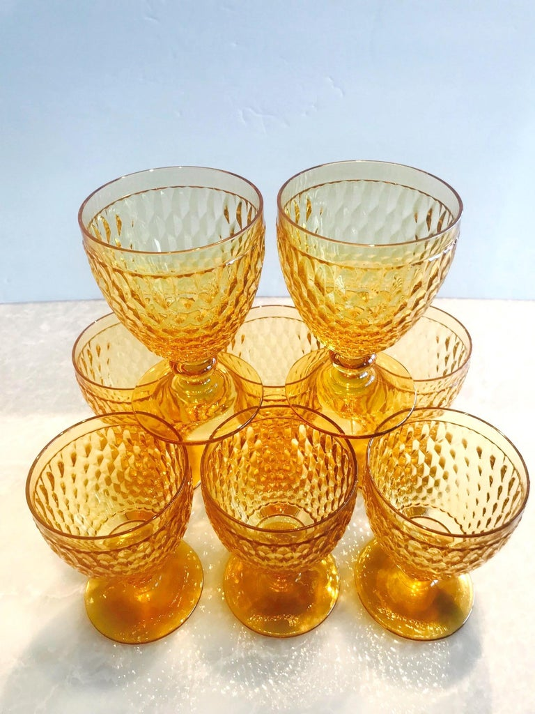 Vintage Crystal Amber Colored Goblets by Villeroy & Boch, Set of Eight 3
