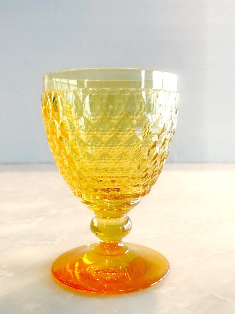 Vintage Crystal Amber Colored Goblets by Villeroy & Boch, Set of Eight 4