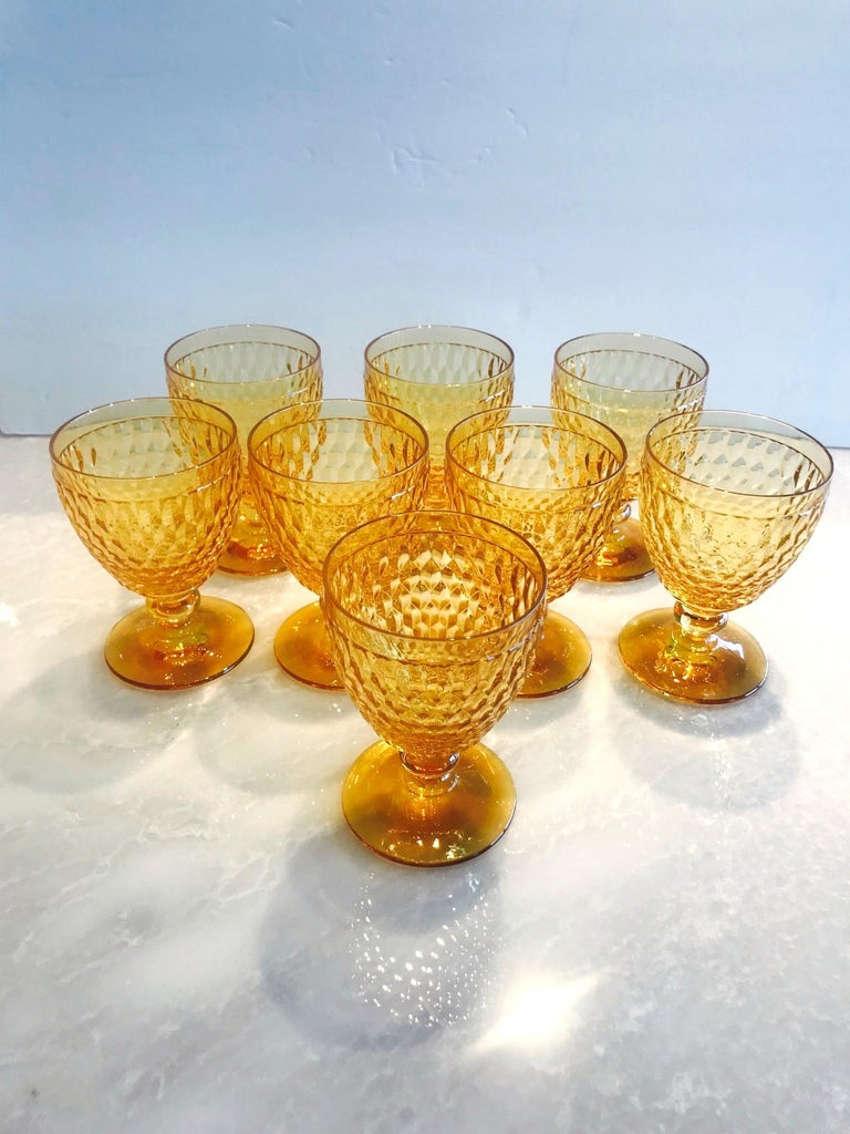 Mid-Century Modern Vintage Crystal Amber Colored Goblets by Villeroy & Boch, Set of Eight For Sale