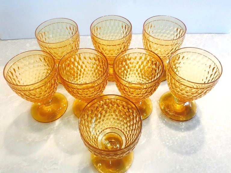 German Vintage Crystal Amber Colored Goblets by Villeroy & Boch, Set of Eight For Sale