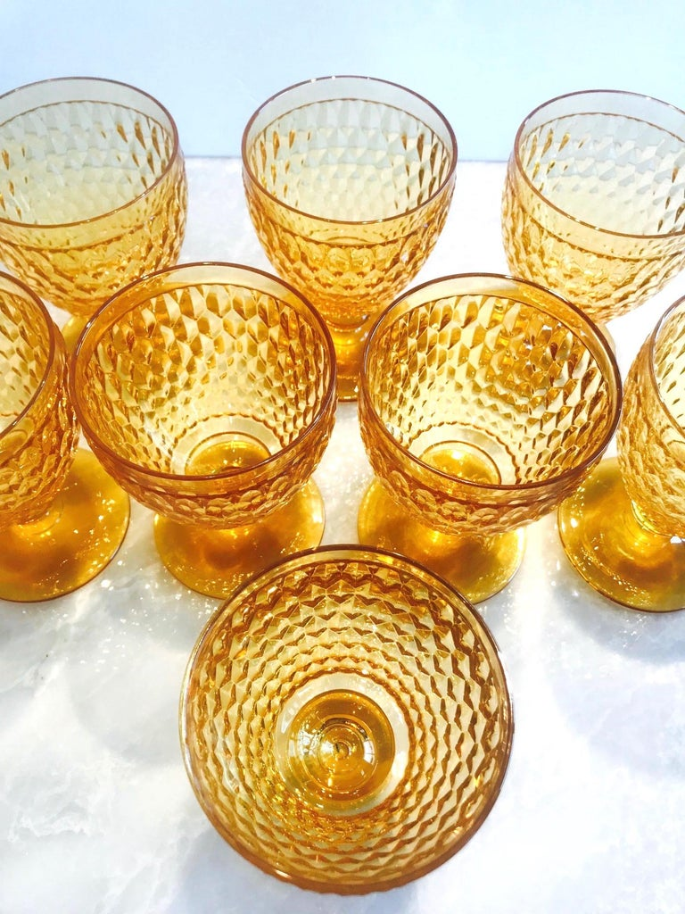 Hand-Crafted Vintage Crystal Amber Colored Goblets by Villeroy & Boch, Set of Eight For Sale