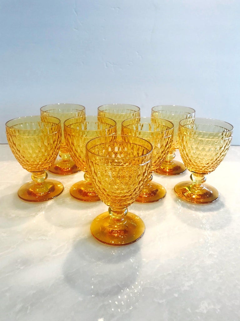 Vintage Crystal Amber Colored Goblets by Villeroy & Boch, Set of Eight In Excellent Condition In Fort Lauderdale, FL