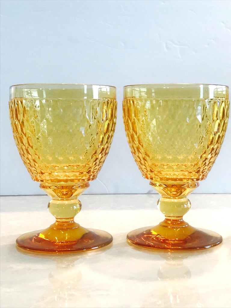 Contemporary Vintage Crystal Amber Colored Goblets by Villeroy & Boch, Set of Eight For Sale