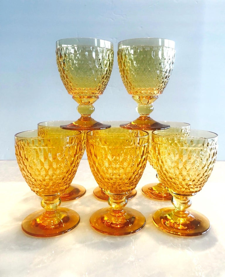 Vintage Crystal Amber Colored Goblets by Villeroy & Boch, Set of Eight For Sale 2