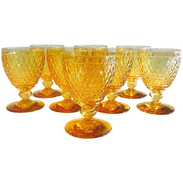 Vintage Crystal Amber Colored Goblets by Villeroy & Boch, Set of Eight