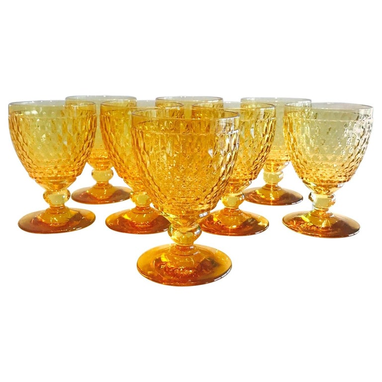 Vintage Crystal Amber Colored Goblets by Villeroy & Boch, Set of Eight For Sale
