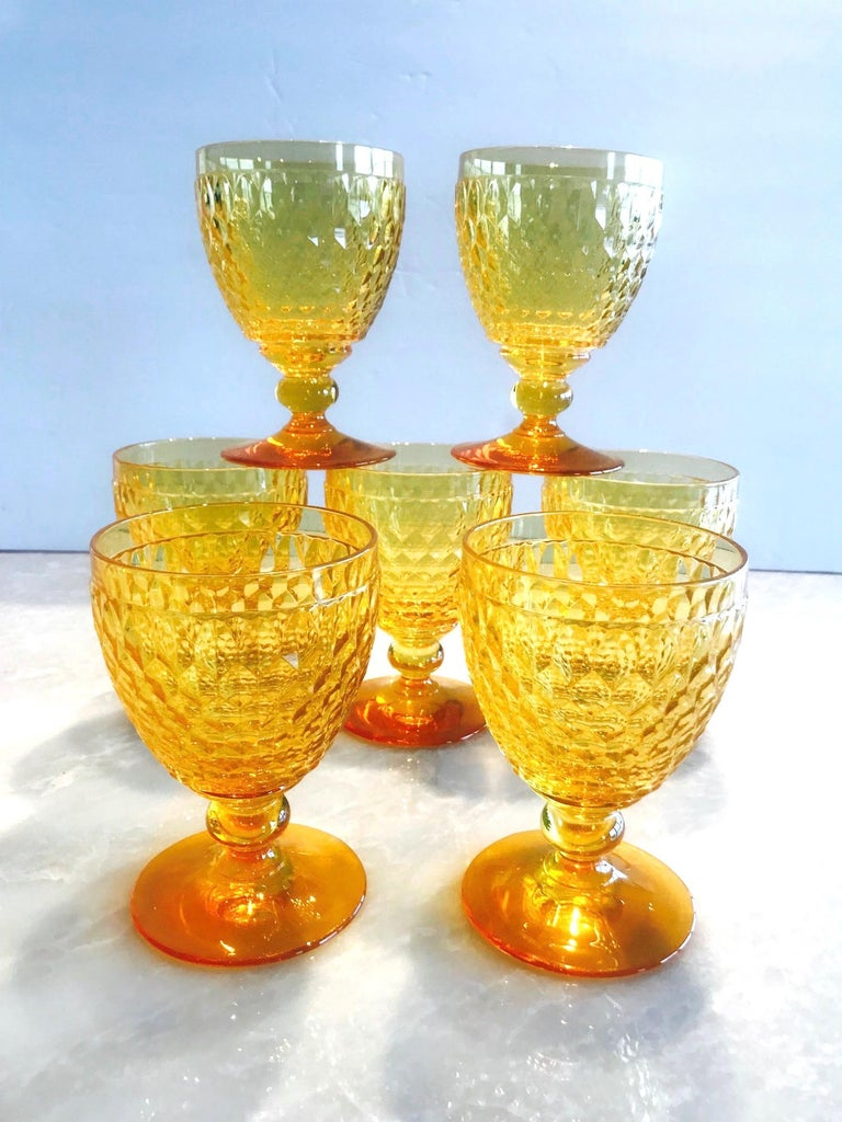 Vintage Crystal Amber Colored Wine Glasses by Villeroy & Boch, Set of Eight For Sale 4