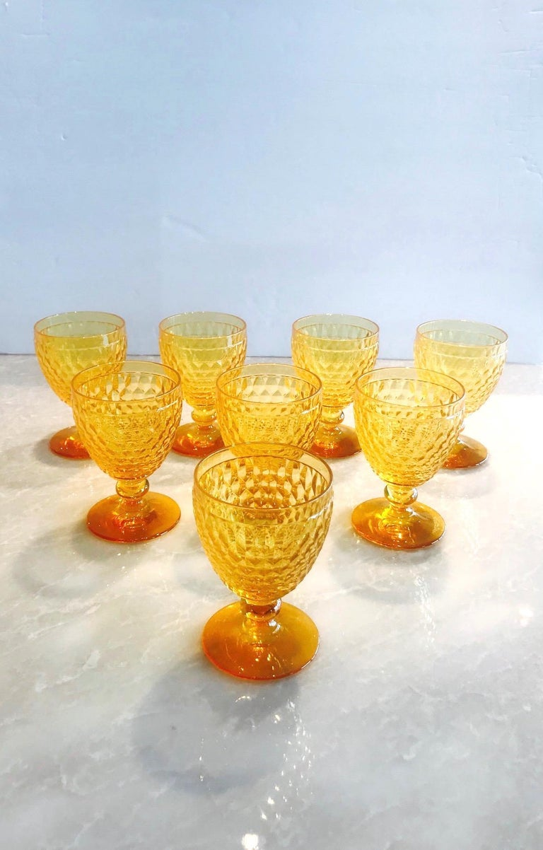 Mid-Century Modern Vintage Crystal Amber Colored Wine Glasses by Villeroy & Boch, Set of Eight For Sale