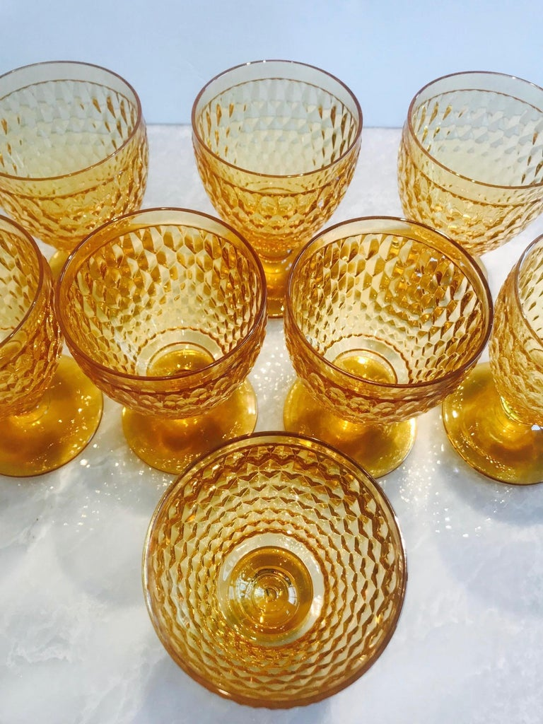German Vintage Crystal Amber Colored Wine Glasses by Villeroy & Boch, Set of Eight For Sale