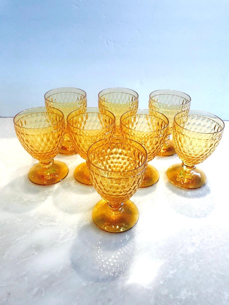 Hand-Crafted Vintage Crystal Amber Colored Wine Glasses by Villeroy & Boch, Set of Eight For Sale