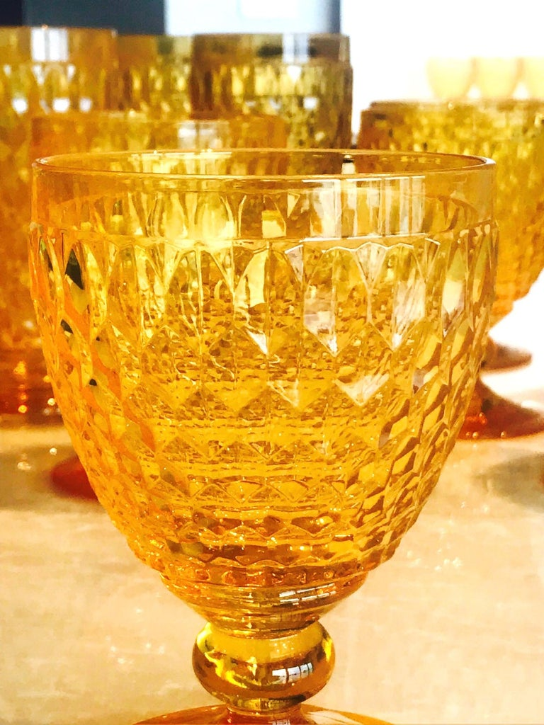 Vintage Crystal Amber Colored Wine Glasses by Villeroy & Boch, Set of Eight In Excellent Condition For Sale In Miami, FL