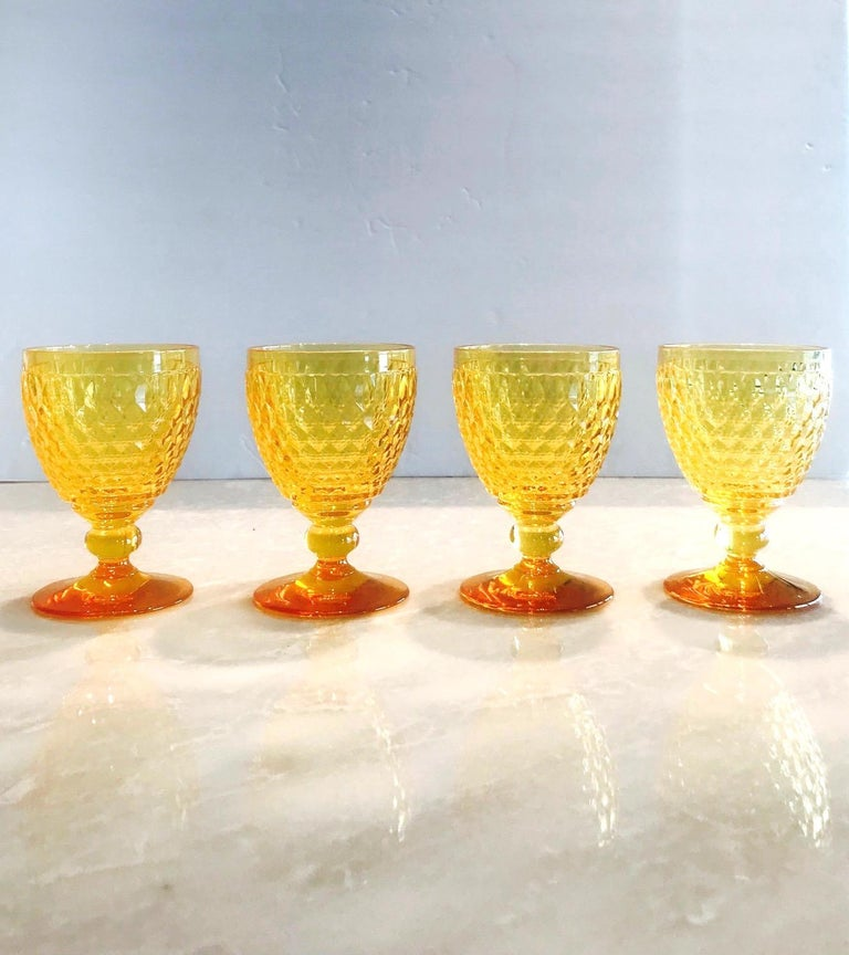 Contemporary Vintage Crystal Amber Colored Wine Glasses by Villeroy & Boch, Set of Eight For Sale