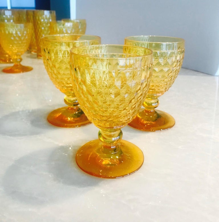 Vintage Crystal Amber Colored Wine Glasses by Villeroy & Boch, Set of Eight For Sale 1