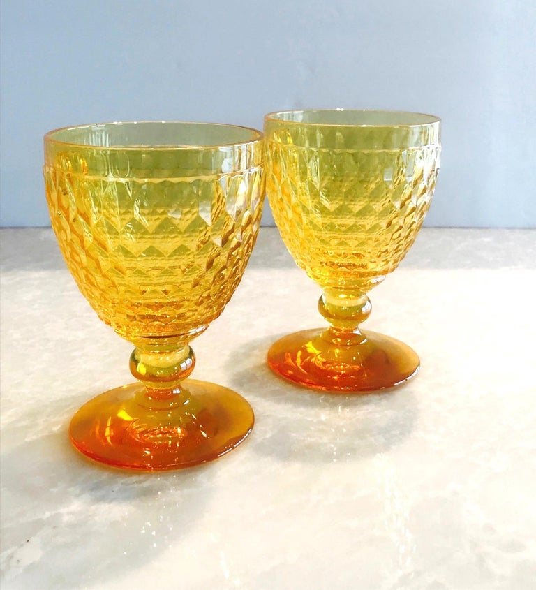 Vintage Crystal Amber Colored Wine Glasses by Villeroy & Boch, Set of Eight For Sale 2