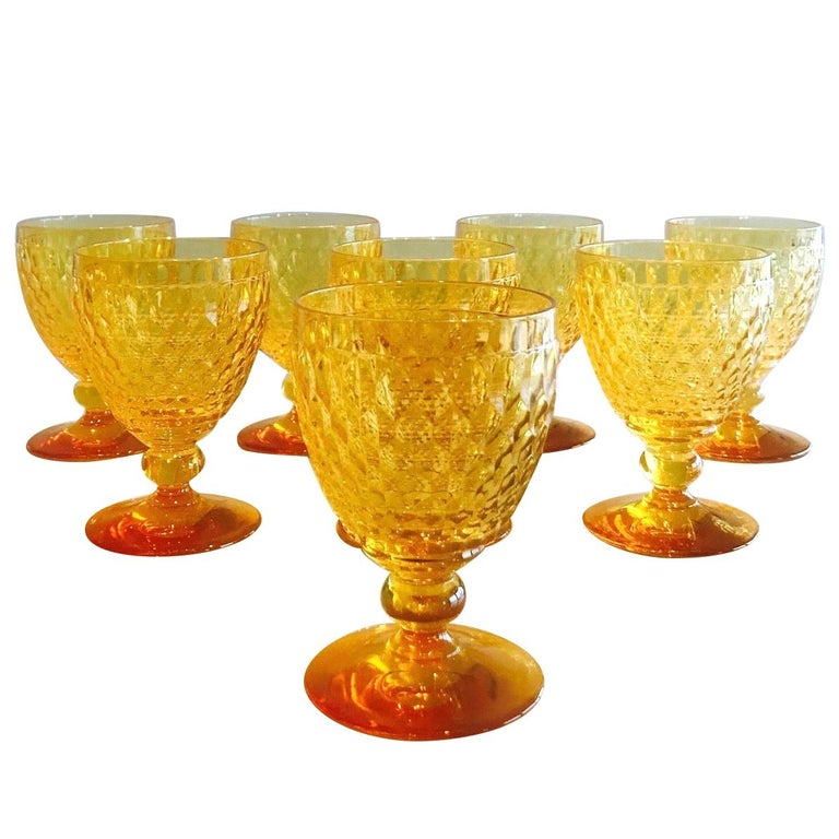 Vintage Crystal Amber Colored Wine Glasses by Villeroy & Boch, Set of Eight For Sale