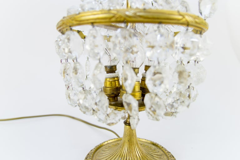 Vintage Crystal and Bronze Basket Table Lamp For Sale 4