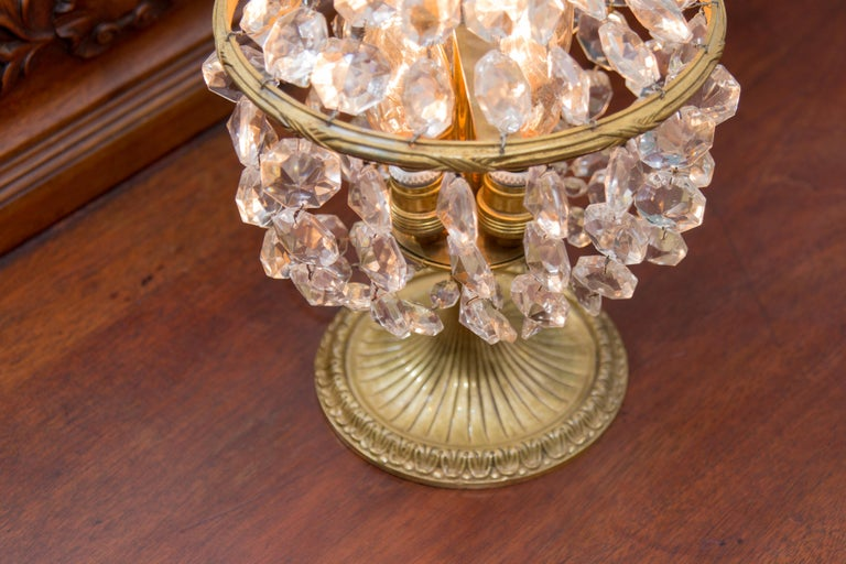 Vintage Crystal and Bronze Basket Table Lamp For Sale 5