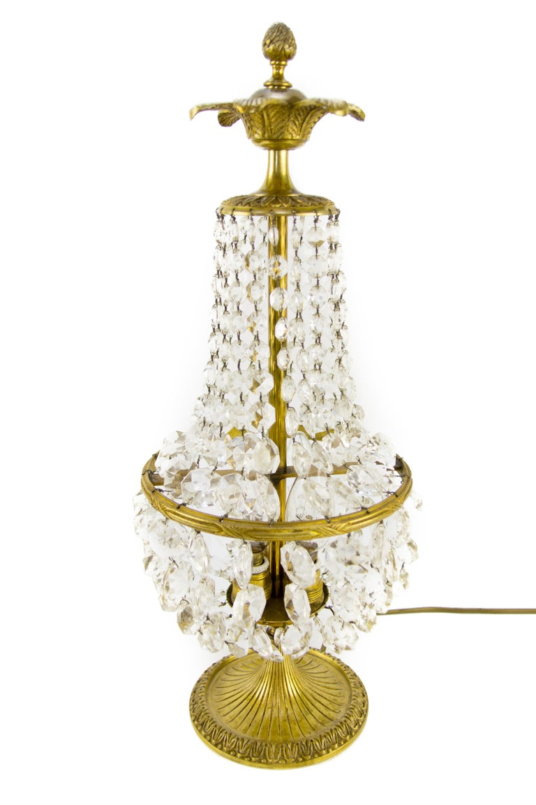 Beautiful Empire style crystal and bronze basket table lamp. Three interior lights with E14 sockets and new wiring. France, 1950's.