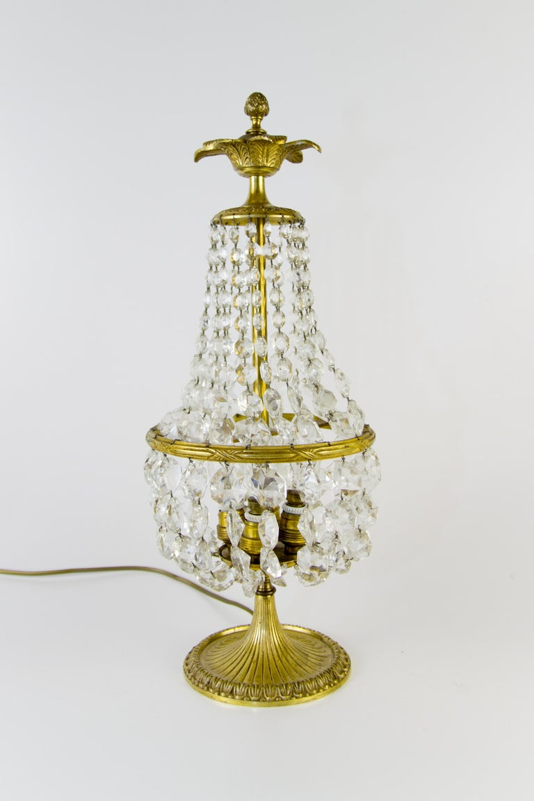 Vintage Crystal and Bronze Basket Table Lamp For Sale 1