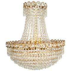 Vintage Crystal Bell Shape Brass Framed Chandelier