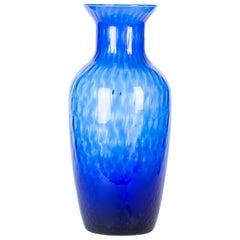 Vintage Crystal Blue Vase, Italy, 1970s