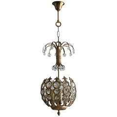 Art Deco Crystal Bronze Four-Light Ball Chandelier or Lantern
