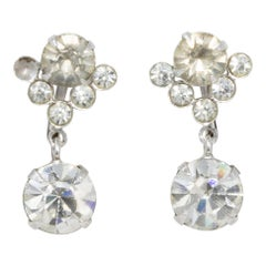 Vintage Crystal Dangle Earrings in Silver, Prong Set, Screw Back