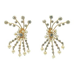 Vintage Crystal & Pearl Statement Spray Earrings 1980s
