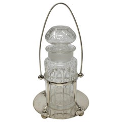 Vintage Crystal Pickle Jar in Silver Plated Stand, Henry Wilkerson & Co, London