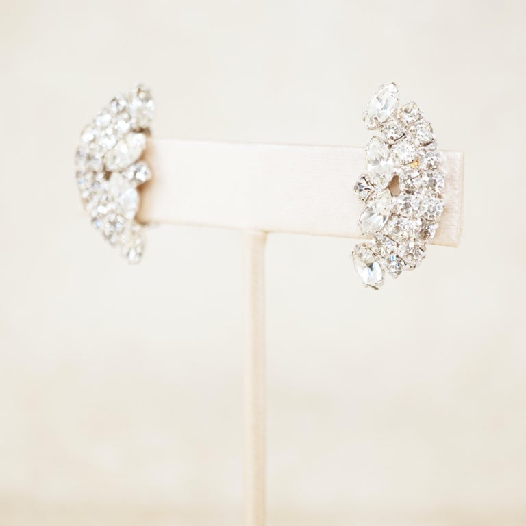 Modern Vintage Crystal Rhinestone Climber Statement Earrings by Kramer, 1950s For Sale