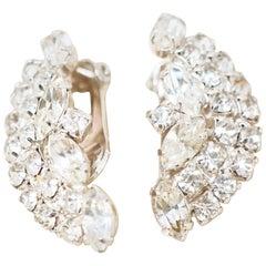 Vintage Crystal Rhinestone Climber Statement Earrings by Kramer, 1950s