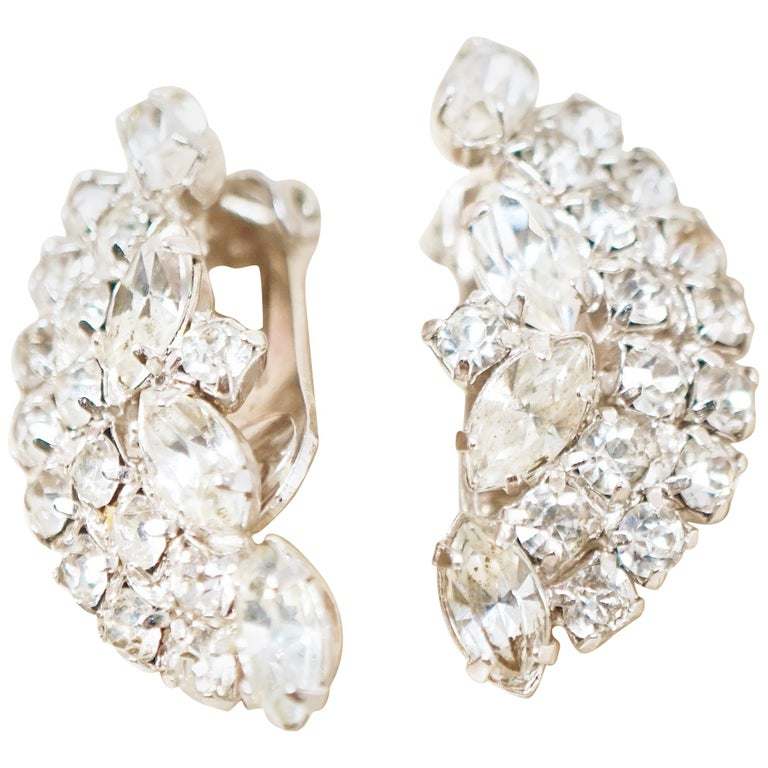 Vintage Crystal Rhinestone Climber Statement Earrings by Kramer, 1950s For Sale
