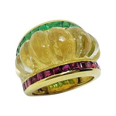Vintage Crystal Rock and Square Cut Ruby and Emerald Yellow Gold Cocktail Ring
