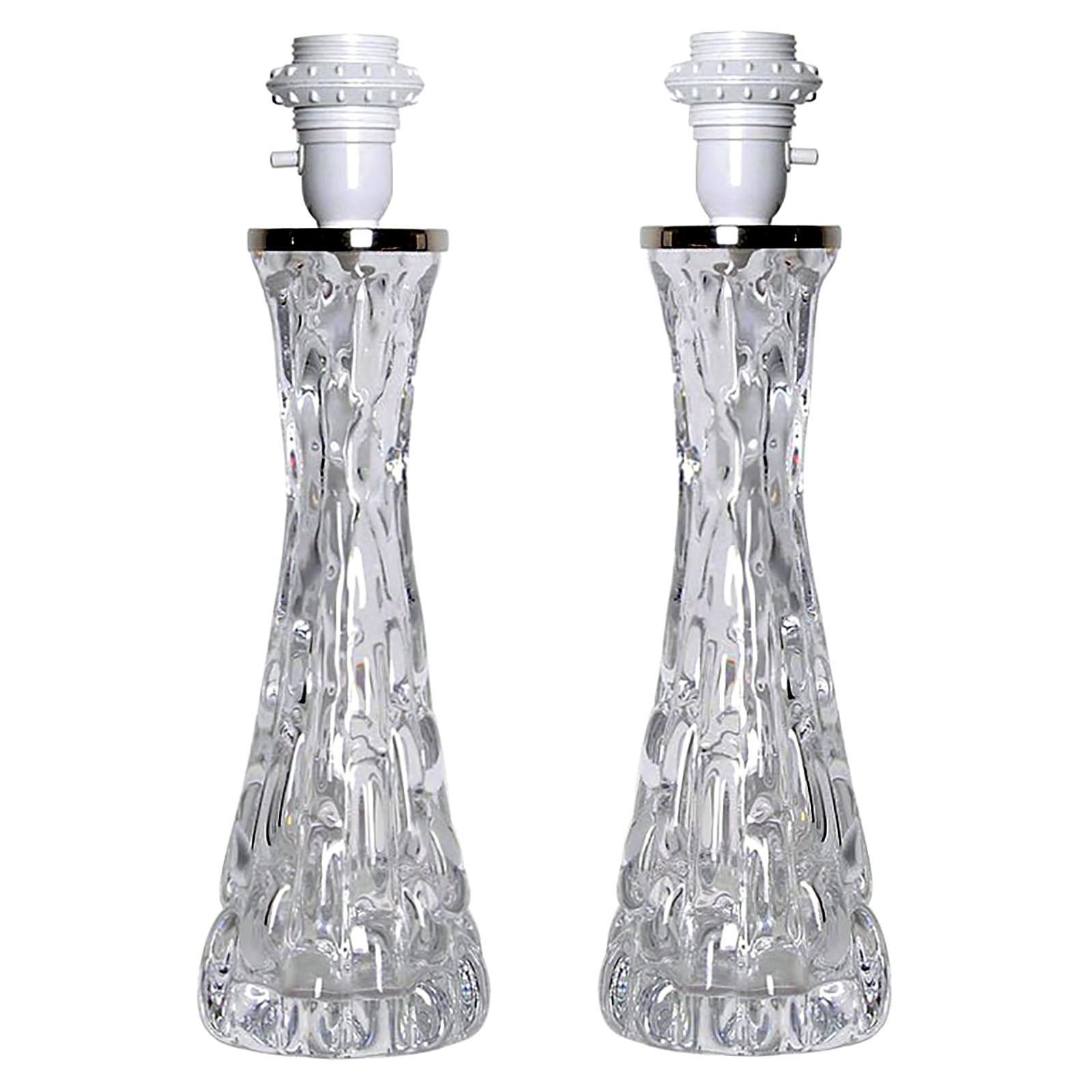 Vintage Crystal Table Lamps by Carl Fagerlund for Orrefors, 1970s