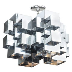 Vintage Cubist Chrome Chandelier by Curtis Jere