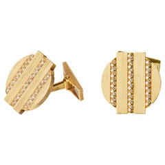 Vintage Cufflinks by Piaget with Diamonds set in 18 Karat Gold, Swiss circa 1975